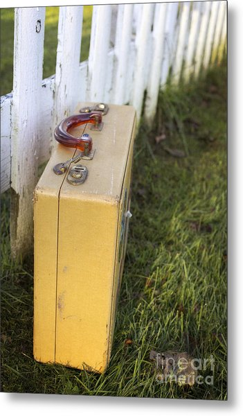 Vintage Luggage Left By A White Picket Fence Metal Print