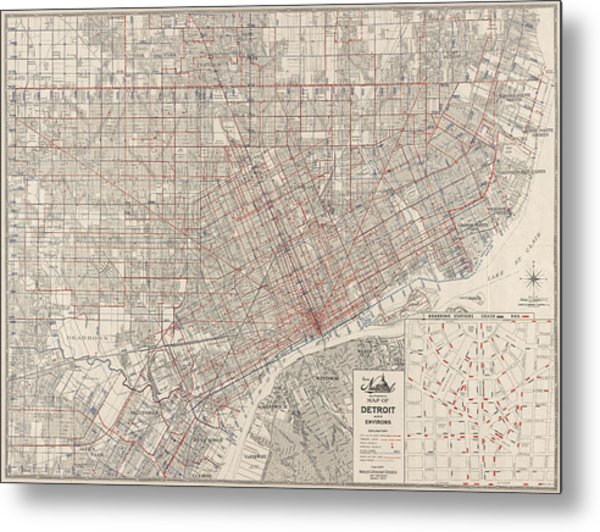 Vintage Map Of Detroit Michigan From 1947 Metal Print