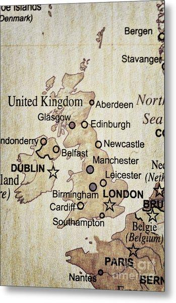 Vintage Map Of England Metal Print