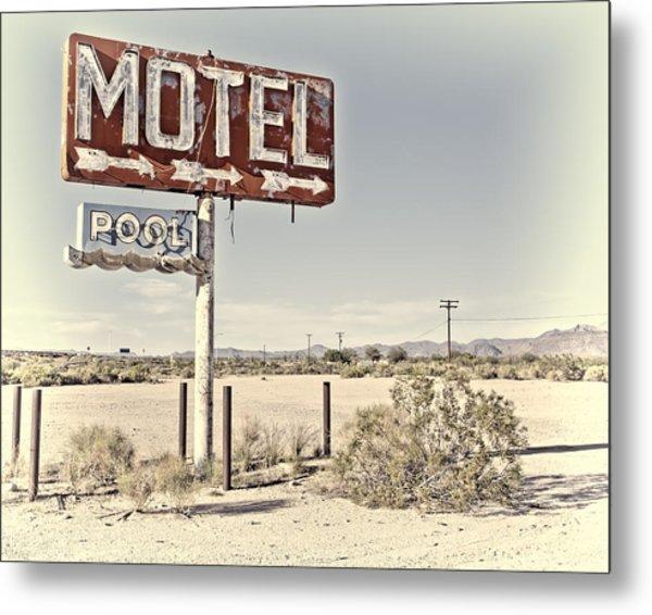 Vintage Motel Pool Sign Metal Print
