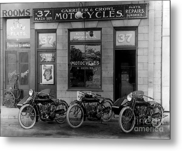 Vintage Motorcycle Dealership Metal Print