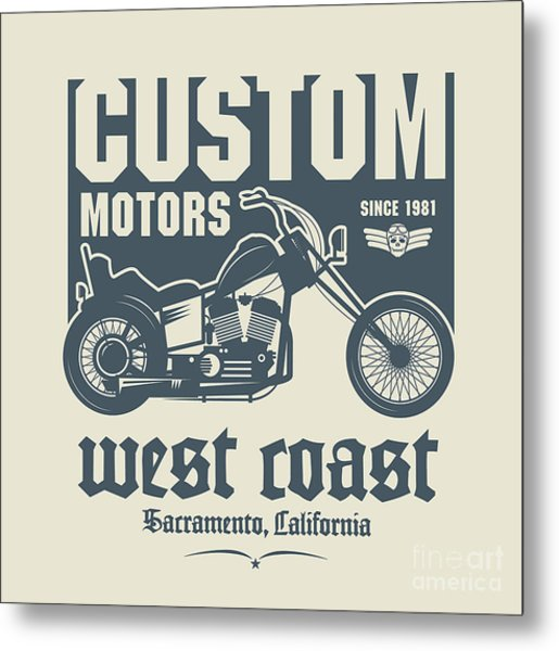 Vintage Motorcycle Label Or Poster Metal Print