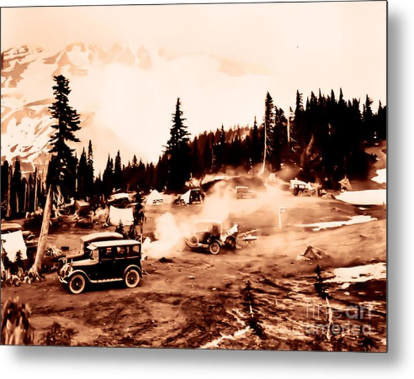 Vintage Mount Rainier Cars And Camp Grounds Early 1900 Era... Metal Print