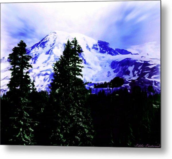 Vintage Mount Rainier From Pinnacle Peak Early 1900 Era... Metal Print