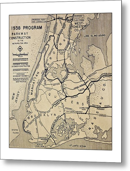 Vintage Newspaper Map Metal Print