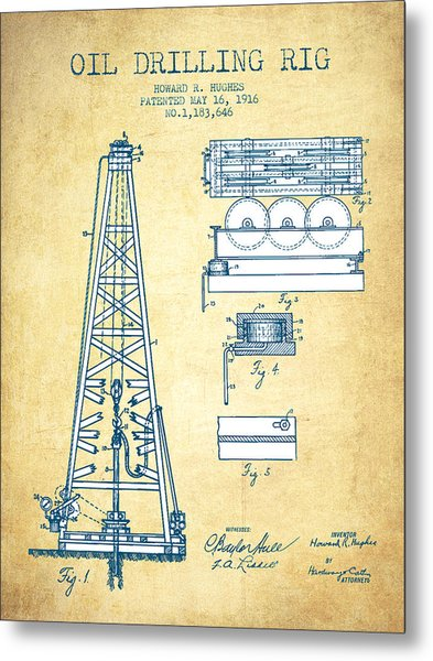 Oil Drilling Rig Patent From 1916 - Vintage Paper Metal Print