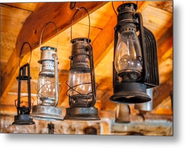 Vintage Oil Lanterns Metal Print