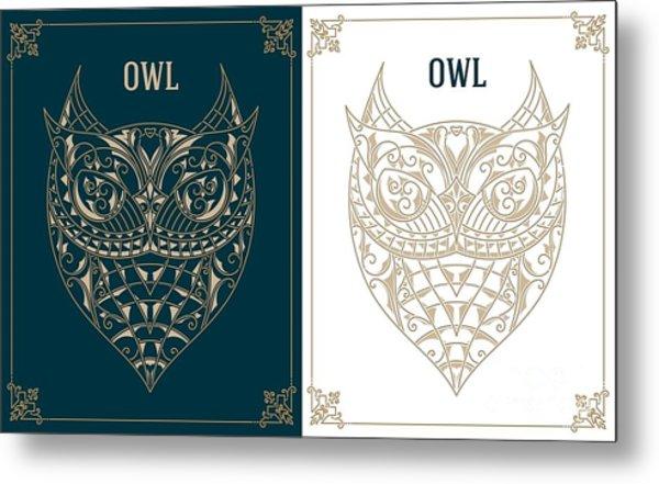 Vintage Owl. Retro Vector Design Metal Print