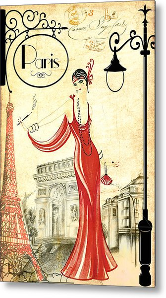 Vintage Paris Woman Metal Print