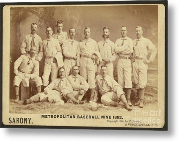 Vintage Photo Of Metropolitan Baseball Nine Team In 1882 Metal Print