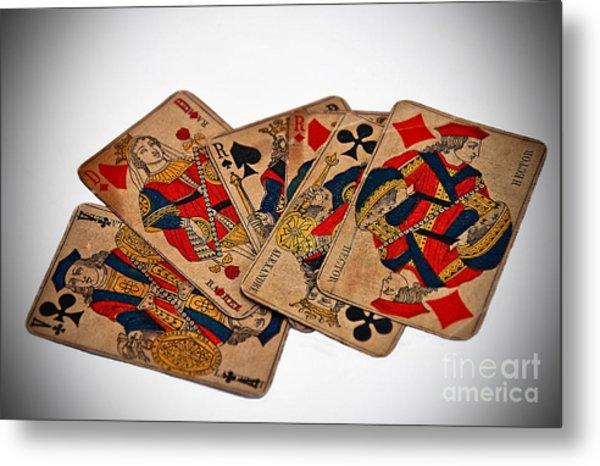 Vintage Playing Cards Art Prints Metal Print
