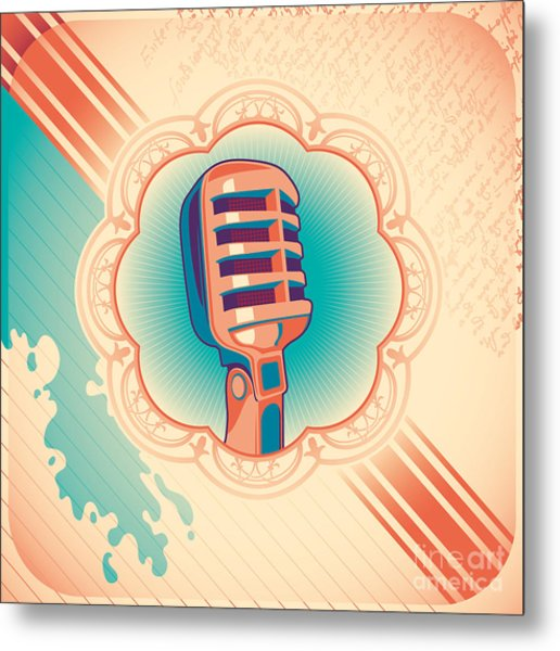 Vintage Poster With Microphone. Vector Metal Print