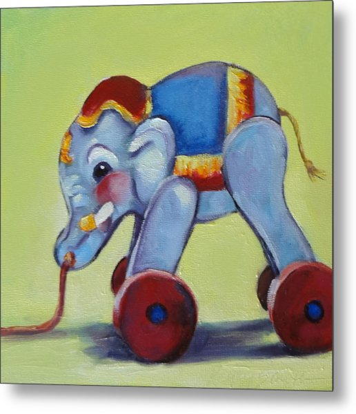 Vintage Pull Toy Series Elephant Metal Print by Kelley Smith