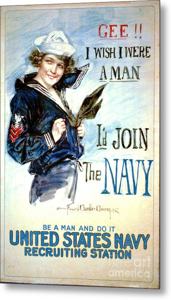Vintage Recruiting Poster 1917 Metal Print by Padre Art
