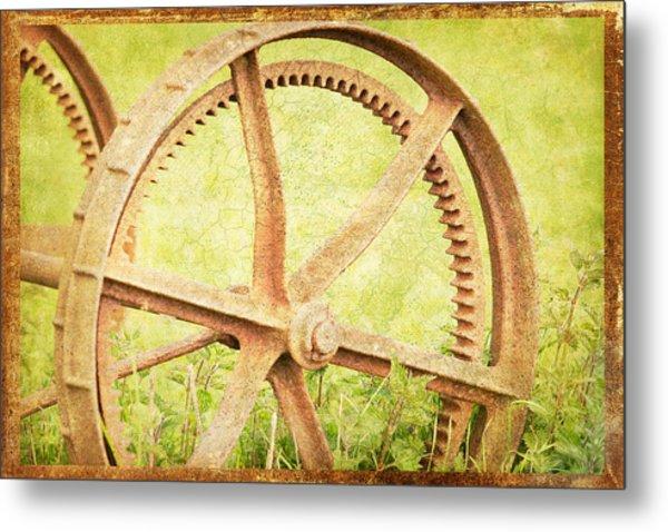 Vintage Rusty Wheel Metal Print by Lesley Rigg