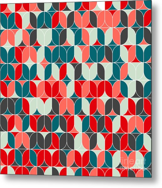 Vintage Seamless Geometrical Colorful Metal Print