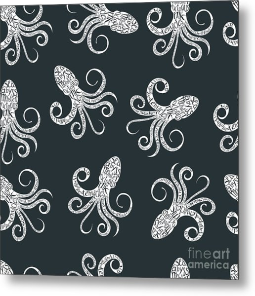 Vintage Seamless Pattern With Metal Print