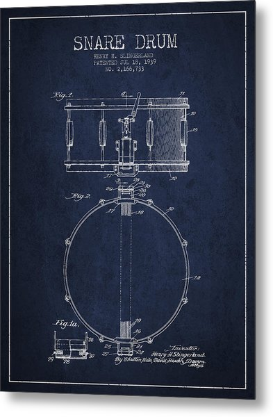 Snare Drum Patent Drawing From 1939 - Blue Metal Print