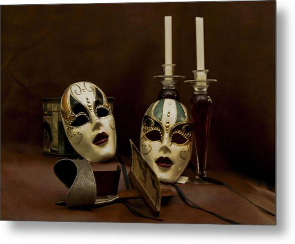 Vintage Still Life Of Venitian Mask Metal Print