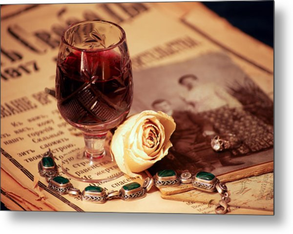 Vintage Still Life With Wine Metal Print