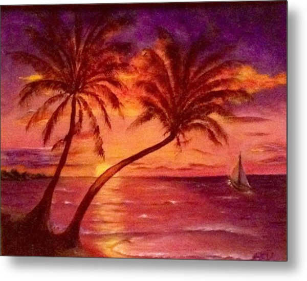 Vintage Sunset Sail  Metal Print