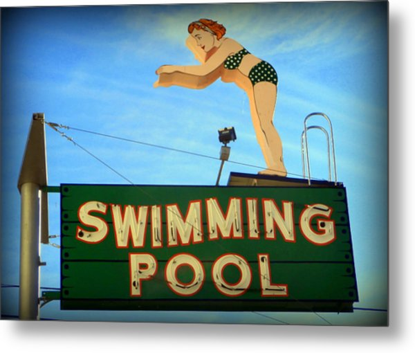 Vintage Swimming Lady Hotel Sign Metal Print