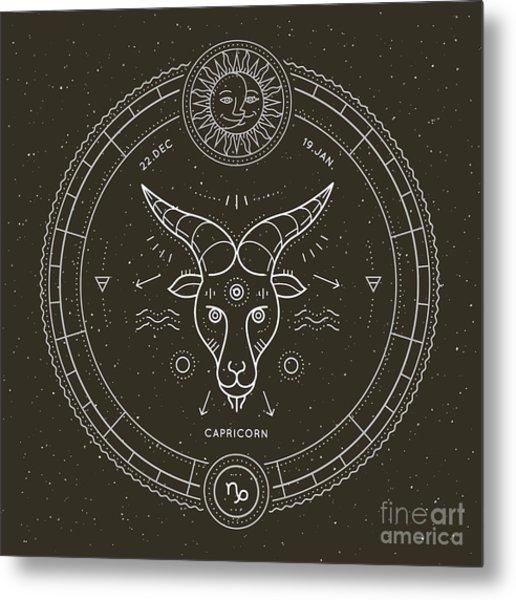 Vintage Thin Line Capricorn Zodiac Sign Metal Print