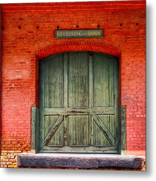 Vintage Train Depot Receiving Door - Augusta Metal Print
