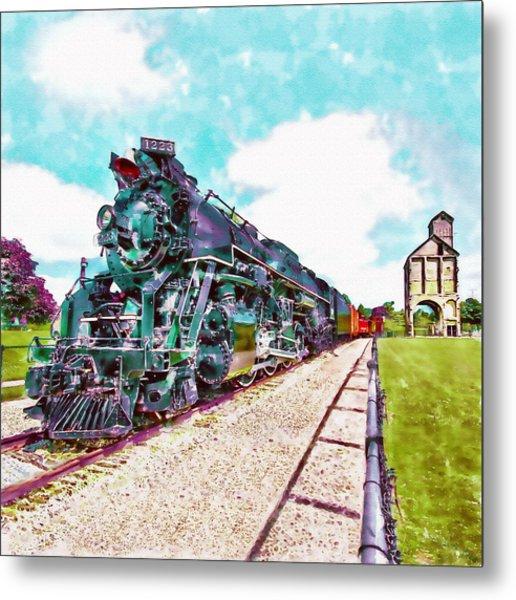 Vintage Train Watercolor Metal Print