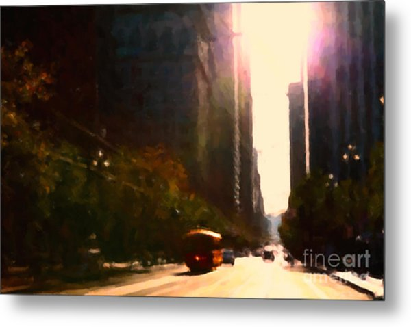 Vintage Trolley Car On Market Street - San Francisco - 5d20849 Metal Print by Wingsdomain Art and Photography