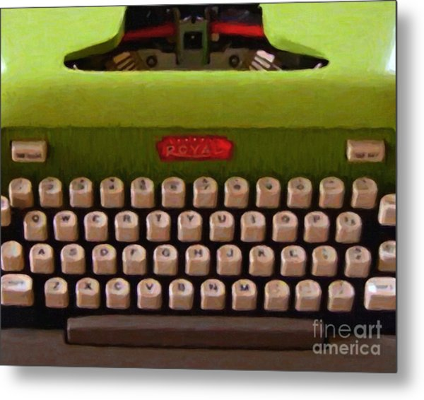 Vintage Typewriter - Painterly Metal Print by Wingsdomain Art and Photography