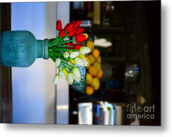 Vintage Vase And Rose Metal Print by Bobby Mandal