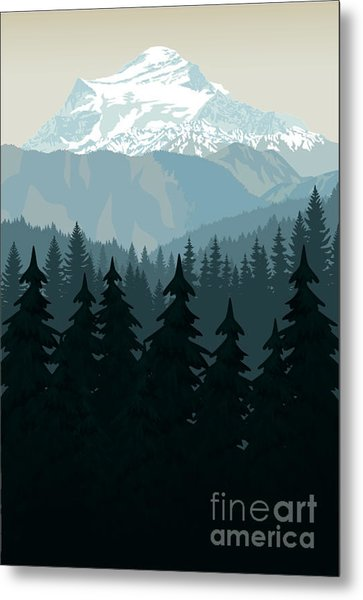 Vintage Vector Mountains Forest Metal Print