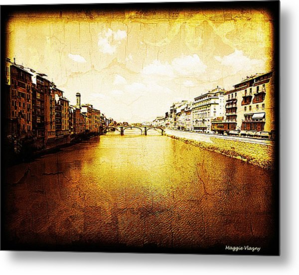 Vintage View Of River Arno Metal Print