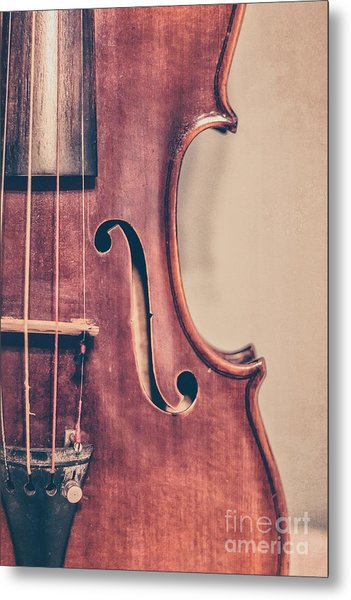 Vintage Violin Portrait 2 Metal Print