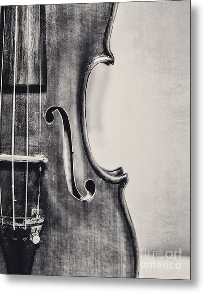 Vintage Violin Portrait In Black And White Metal Print