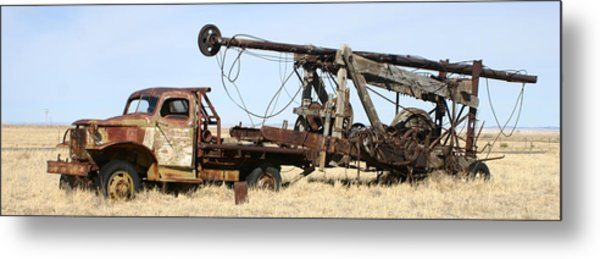 Vintage Water Well Drilling Truck Metal Print