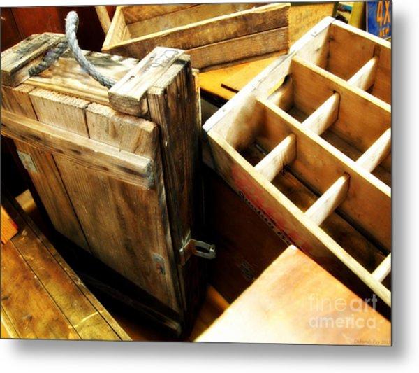 Vintage Wooden Boxes Metal Print