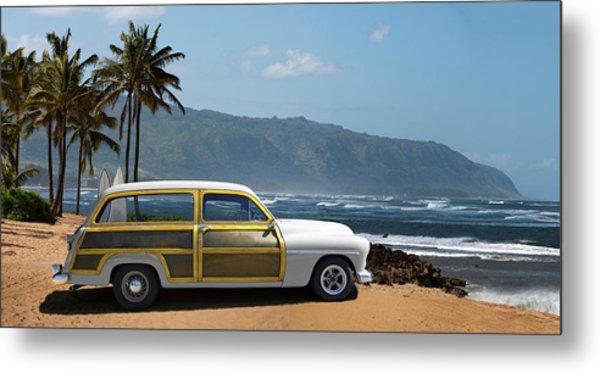 Vintage Woody On Hawaiian Beach Metal Print