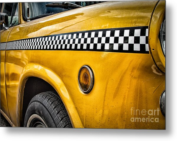 Vintage Yellow Cab Metal Print