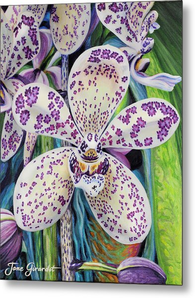 Violet Dotted Orchid Metal Print