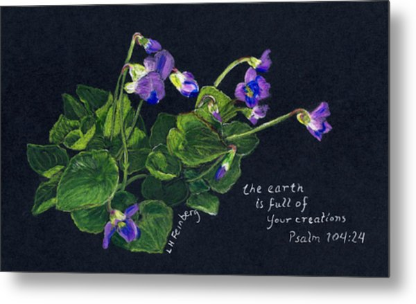 Violets And Psalm 104 Metal Print