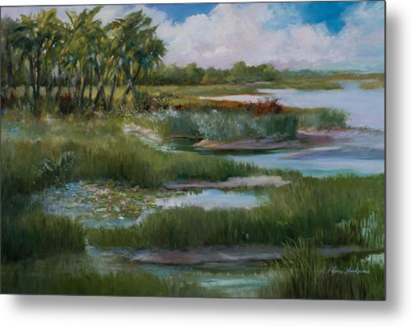 Violets Spring In The Marsh Metal Print by Jane Woodward