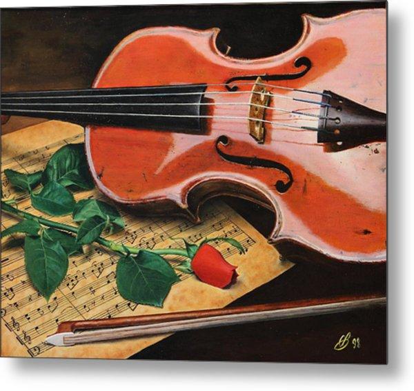 Violin And Rose Metal Print