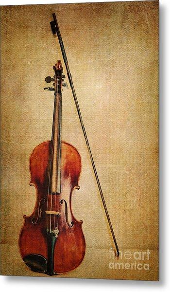 Violin With Bow Metal Print
