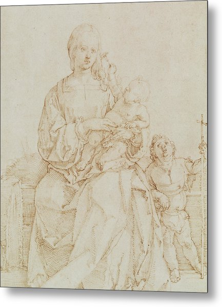 Virgin And Child With Infant St John Metal Print