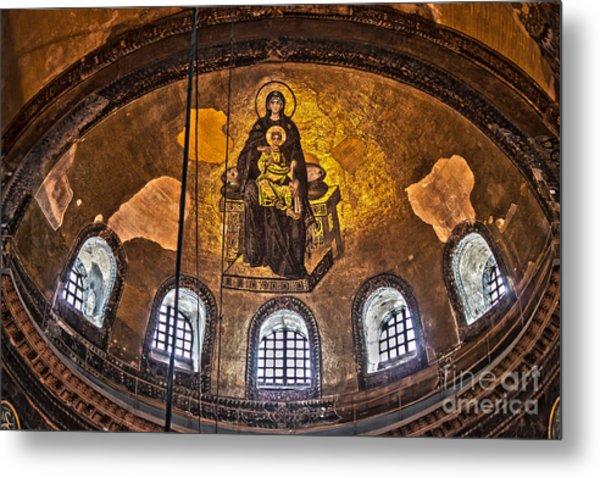 Virgin Mary And Child Mosaic At The Hagia Sophia Metal Print