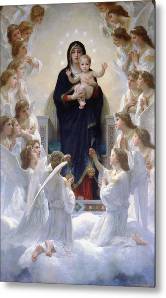 Virgin Mary With Angels Metal Print