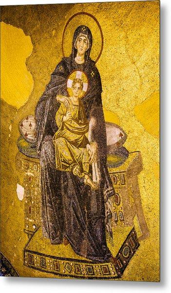 Virgin Mary With Baby Jesus Mosaic Metal Print