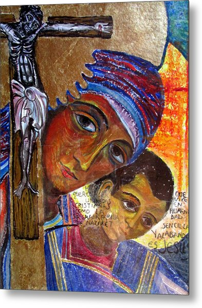 Virgin Of The Way And The Cross Metal Print